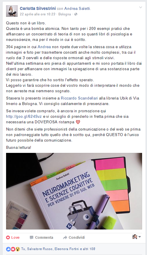 opinioni libro neuromarketing Andrea Saletti